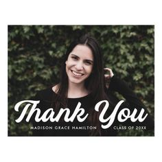 """Graduation thank you postcard personalized with the graduate's photo, name, and graduation year. """"Thank You"""" is displayed in a bold white script font. Designed by Late Bloom Paperie. #graduationthankyoucards#graduationthankyounotes#graduationthankyoupostcards#graduationthankyoucardtemplate #zazzle #ad Graduation Thank You Cards, Graduation Year, Graduation Party Invitations, Graduation Party Decor, Madison Grace, Graduation Cap Toppers, Thank You Messages, Thank You Postcards, Thank You Card Template"""