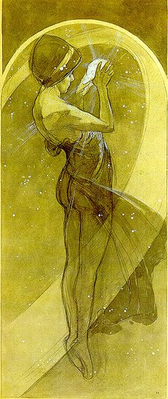 Tarot Card 17 - The Star Alphonse Mucha, North Star, Art Nouveau, Art Deco, Art Blanc, Alphonse Mucha Art, Mucha Artist, Illustrator, Jugendstil Design, Design Graphique, Mellow Yellow