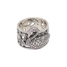NOVICA Artisan Crafted 925 Sterling Silver Swan Cocktail Ring (175 RON) ❤ liked on Polyvore featuring jewelry, rings, sterling silver, toplevelcatrings, flower jewelry, flower jewellery, flower rings, sterling silver jewellery and cocktail rings