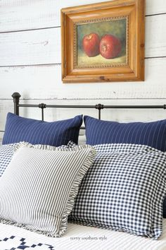 Savvy Southern Style : Fall Bedroom Tour of a Different Color Farmhouse Style Bedrooms, Farmhouse Decor, Fall Bedroom, Bedroom Decor, Apple Painting, Savvy Southern Style, Tufted Chair, Best Pillow, Painted Chairs