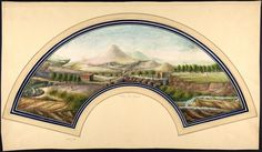 Watercolor on vellum illustrating a fan, with double ink framing - Landscape of countryside surrounding Vesuvius, with on the right the Bay of Naples - 19th century anonymous author - Harris Brisbane Dick Fund, 1938 / Metropolitan Museum of Art NY