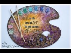 Mixed Media Altered Paint Palette Shimmerz - YouTube