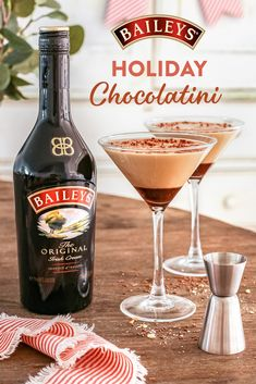 Dessert can be sipped too! Make your post-dinner treat festive with Baileys.   Dessert Drinks, Party Drinks, Cocktail Drinks, Fun Drinks, Yummy Drinks, Beverages, Baileys Drinks, Baileys Recipes, Non Alcoholic Drinks