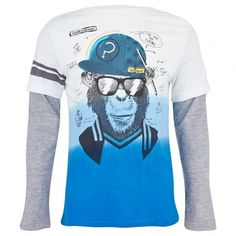 Blue and Grey 2-in-1 Monkey Tee │Desigual