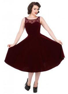H&R London Burgundy Velvet Romance Dress | Attitude Clothing