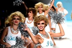 Models dance down the runway at the Betsey Johnson fashion show at The Salon during New York Fashion Week