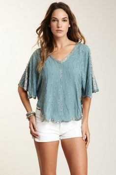 What Goes Around Comes Around Farrah Beaded Silk Top by Non Specific on @HauteLook