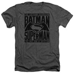 #harrypotter #hannabarbera Batman v Superman: Dawn of Justice Title Fight Adult Heather Charcoal T-Shirt: The shirt features a… #batman