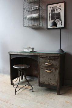Vintage French Steel Desk
