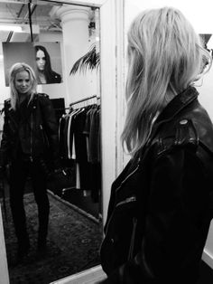 Elin Kling in black leather jacket from Blk Dnm.
