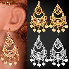 U7 étnico pendientes joyería india clásico regalo del partido amarillo del color del oro rhinestone pendientes de gota de las borlas cuelgan para las mujeres e3030