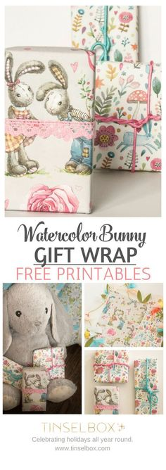 Sweet Watercolor Bunny Gift Wrap – Free Printable