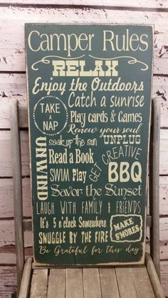 Camping Sign camping Decor Camping Rules Glamping by Wildoaks
