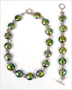 Glass Lampwork Beaded Jewelry Set by JannysStorybeads on Etsy, $45.00