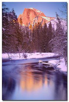 Sunset Half Reflections ,Tuolumne Meadows, Yosemite National Park, CA