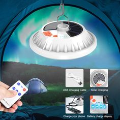 Usb Power Bank Multifunction Steel Hook Hanging Camping Lantern For Garden Outdoor Camping Lamp, Control, Usb, Remote, Solar, Products, Led Flashlight, Style, Gadget