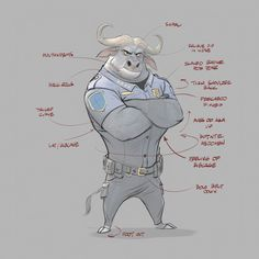 Cory Loftis' character design details + animation notes for Chief Bogo from Disney's Zootopia. Zootopia Concept Art, Zootopia Art, Disney Concept Art, Character Design Animation, Character Design References, Character Drawing, Character Concept, Estilo Disney, Disney Kunst