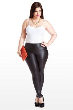 These sleek beaut's look and feel divine, thanks to the all-over faux-leather design, (totally sexy and on-trend) and the high-waisted cut, which features a wide-band waist hem with elastic stretch. Perfect for a night out, with a colorful top, rockin' heels, and loads of bangles.