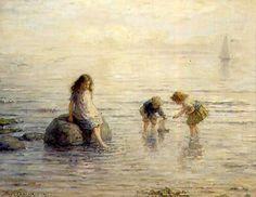Hugh Cameron (1835-1918, Scottish) - Sailing The Toy Boat