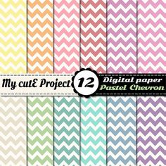 Digital Paper CHEVRON PASTEL  Scrapbooking  12x12 by Mycuteproject