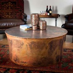 "Jatex Copper 42"" x 18"" Round Drum Coffee Table - 22315"