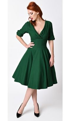 Unique Vintage 1950s Style Emerald Green Delores Swing Dress