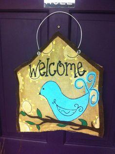 Welcome Bird Burlap Door Hanger by arhale4 on Etsy, $32.00