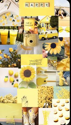 Aesthetic yellow sunflower collage wallpaper
