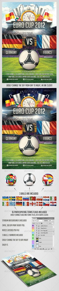 Euro Soccer flyer Vol.2 - Psd flyer template for sports events