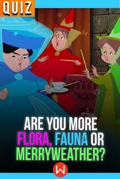 Which good fairy are you? Take this fun Disney Quiz to see which Disney Fairy Godmother you are! Fun quizzes, Disney Quiz, #disneybound Disney personality quizzes, #disneystyle Fauna, Flora or Merryweather? buzzfeed quizzes, girl quiz.