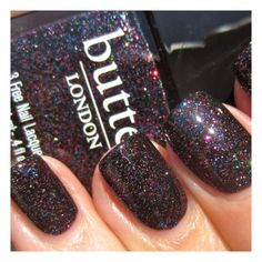 "Butter London 3 Free Nail Polish ""Black Knight"" (black base w/ multi-glitter).......perfect!"