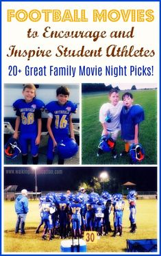 family movie great movie picks for kids that love sports, or to encourage and inspire your student athletes. Fun movie list for Family Movie Nights this fall! Family Movie Night, Family Movies, Kids And Parenting, Parenting Hacks, Kindergarten Homeschool Curriculum, Homeschooling, Movie List, Movie 20, Football Movies