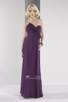 eggplant chiffon bridesmaid gown sweetheart floor length rosette prom dress