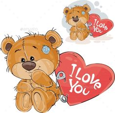 Buy Loving Brown Teddy Bear by vectorpocket on GraphicRiver. Vector illustration of a loving brown teddy bear sitting with a red heart pinned to it with the inscription I Love Yo. Teddy Bear Hug, Brown Teddy Bear, Tatty Teddy, Teddy Bears, Bear Clipart, Bear Vector, Vector Amor, Art And Illustration, Illustrations