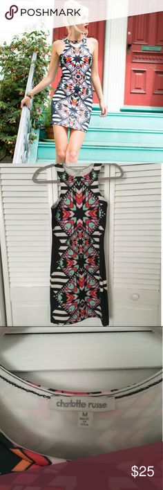 🌸 Host Pick🌸 Geometric Print Body-Con Dress This geometric print high-neck body-con dress is stunning, and has only been worn one time! In amazing condition! I've included a picture of the Charlotte Russe size chart, so you can see if the size would fit you! Charlotte Russe Dresses Mini