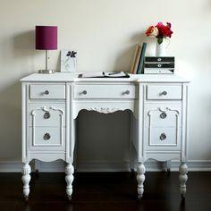 Antique desk / vanity white shabby chic by restauredesigns on Etsy
