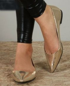 Leather and gold flats.