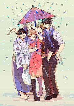 Shinpachi Shimura, Gintoki Sakata, Kagura, Sougo Okita and Toushirou Hijikata Manga Anime, All Anime, Anime Art, Gintama, Otaku Mode, Okikagu, Doujinshi, Kawaii Anime, Cute Art