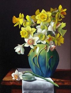"""Claudia Seymour ~ Daffodils in Door Pottery, 14""""h x 11""""w, Oil on panel. http://www.claudiaseymour.com/"""