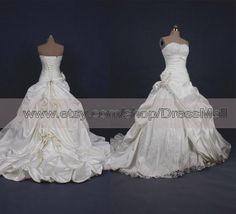 Beaded Lace Pick ups Ball Gown Wedding Dress 2014 Court Train Pleated Flowers Bridal Gown