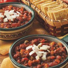 Ground Beef Chili...so delicious when topped with guacamole and a large dallop of sour cream and served with Savory Onion Corn Bread!!!