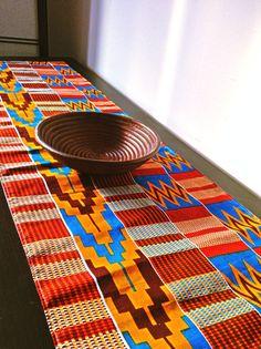 Brick red kente African print table runner by BespokeBinny on Etsy