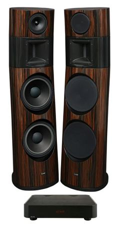 """Ayon Black Fire-XS active floorstand speakers 93dB 12""""bass 6.7""""mid Air Motion HT 