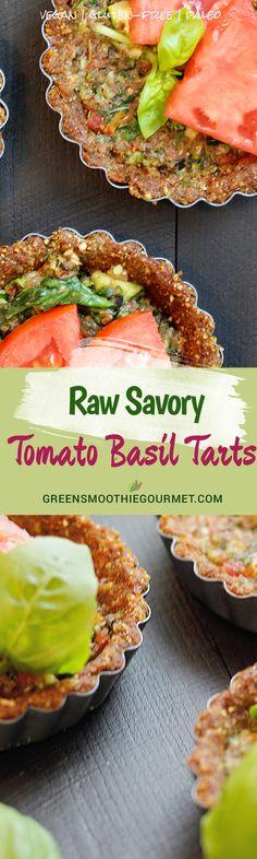 Raw Savory Tomato Basil Tart {vegan}