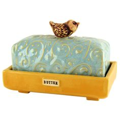 Aqua Clay Butter Dish: Kristy Lombard Pottery