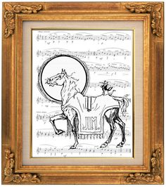 Wizard of Oz, Cat on a Horse, Sheet Music Art, Childrens, Kids, Nursery, Baby Room Decor, Fantasy, Wall Hanging, Arts Prints Posters, Giclee