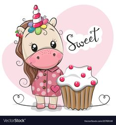 Greeting card Cute Unicorn with cake. Greeting card Cute Cartoon Unicorn with cake royalty free illustration Cartoon Unicorn, Owl Cartoon, Cute Cartoon Girl, Unicorn Fantasy, Unicorn Art, Cute Unicorn, Painting For Kids, Art For Kids, Cake Vector