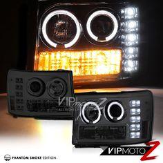 """SMOKE"" 2007-2013 GMC Sierra Halo Rim Angel Eye LED Projector Headlights Lamps #VIPMOTOZ"