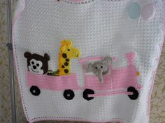 Animals on train childs blanket, available to order any colour. Contact me on FB for price