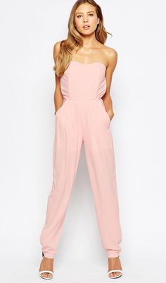 Buy Annarita N Pink Sleeveless Dress for Women at Fashiontage. Brand: Annarita n. Bandeau Jumpsuit, Pink Jumpsuit, Strapless Jumpsuit, Jumpsuit Rosa, Neoprene Gown, Textiles, Halo, Overall, Playsuits